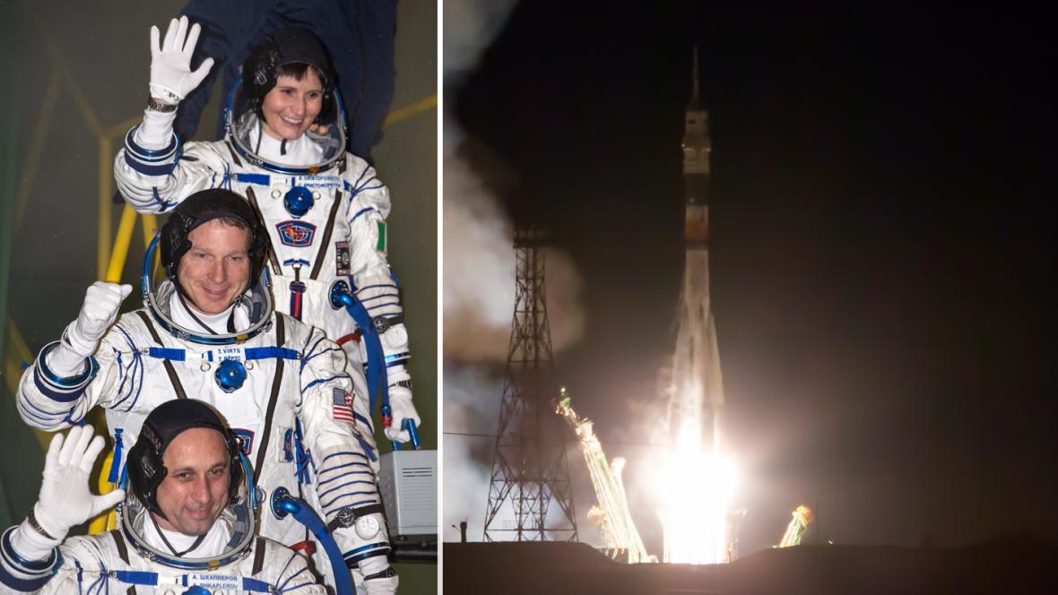 Samantha Cristoforettiová, Terry Virts a Anton Škaplerov odstartovali k ISS