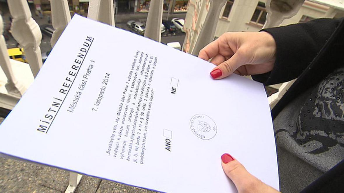 Hlasovací lístek - referendum o hazardu v Praze 1