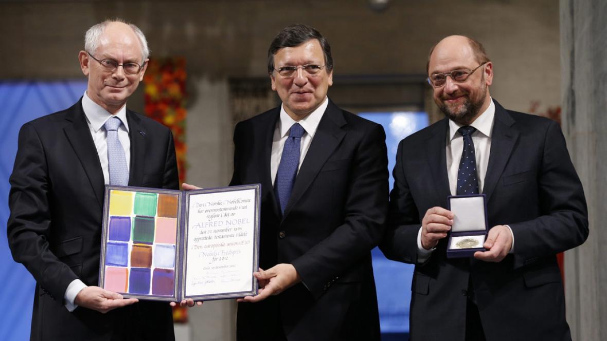 Představitelé EU s Nobelovou cenou míru za rok 2012