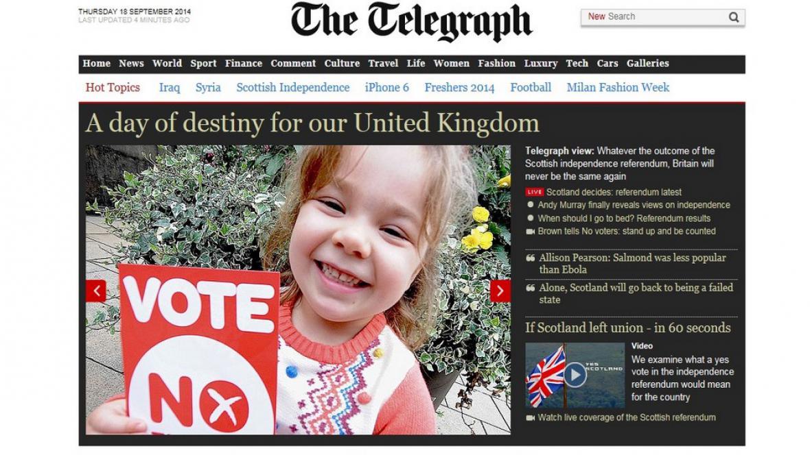 Britský tisk o skotském referendu