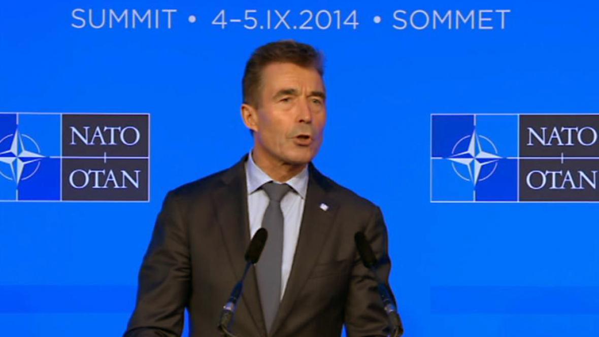 Anders Fogh Rasmussen na brífinku po jednání o Afghánistánu