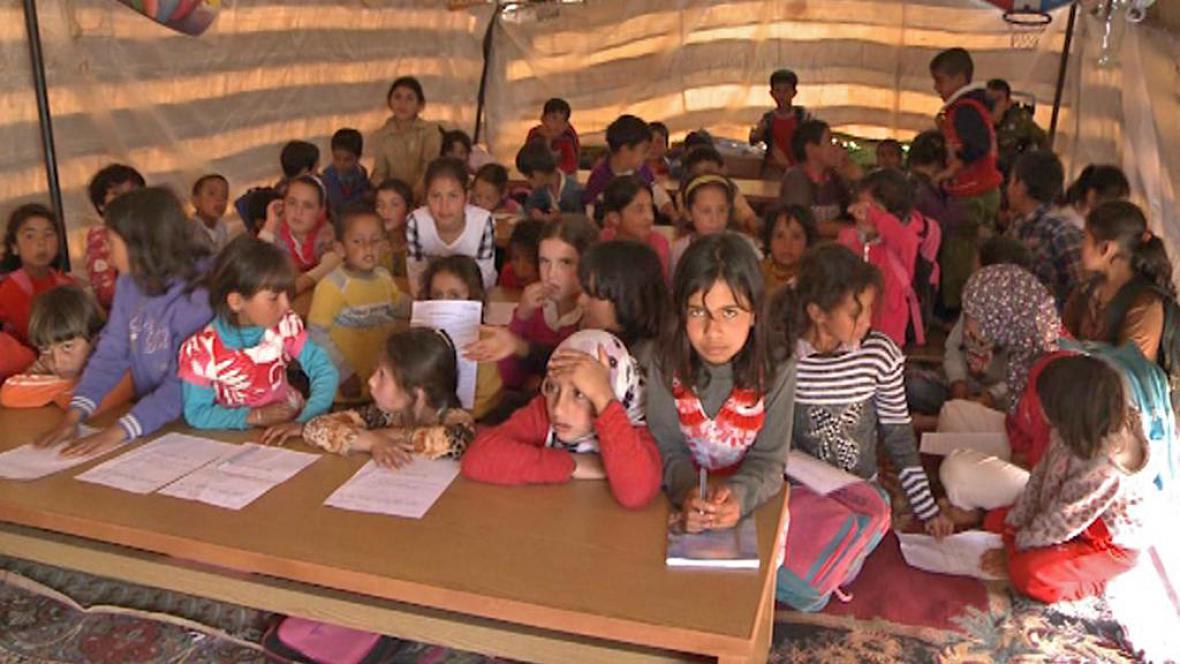 Škola v syrském uprchlickém táboře