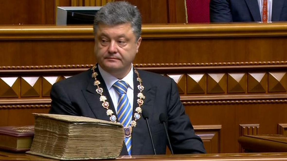 Petro Porošenko při slavnostní inauguraci