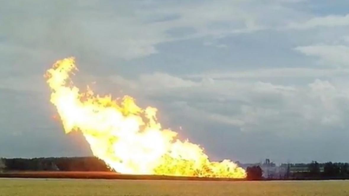Výbuch plynovodu na Ukrajině