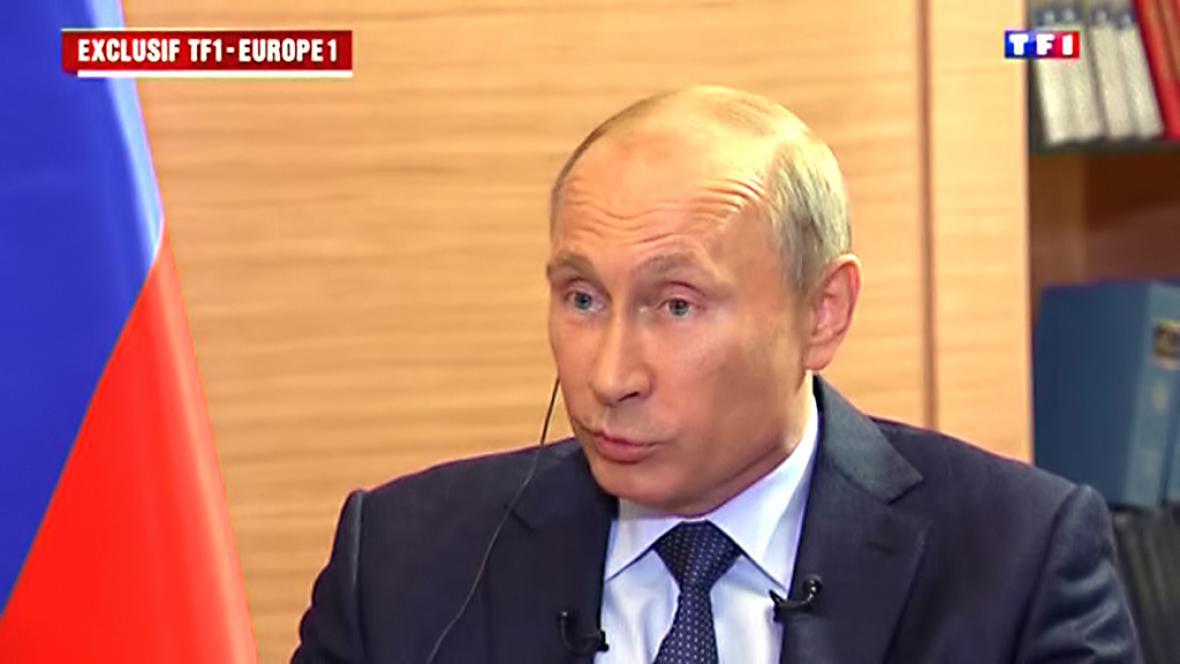 Vladimir Putin při rozhovoru pro TF1 a Europe 1