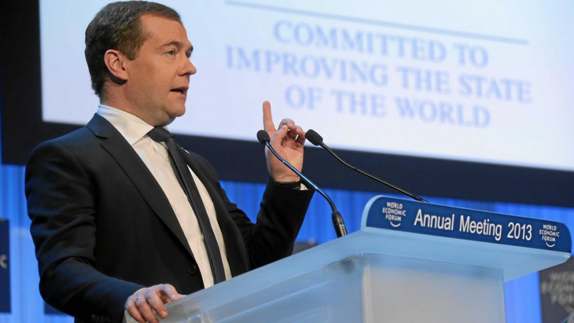Dmitrij Medvěděv v Davosu
