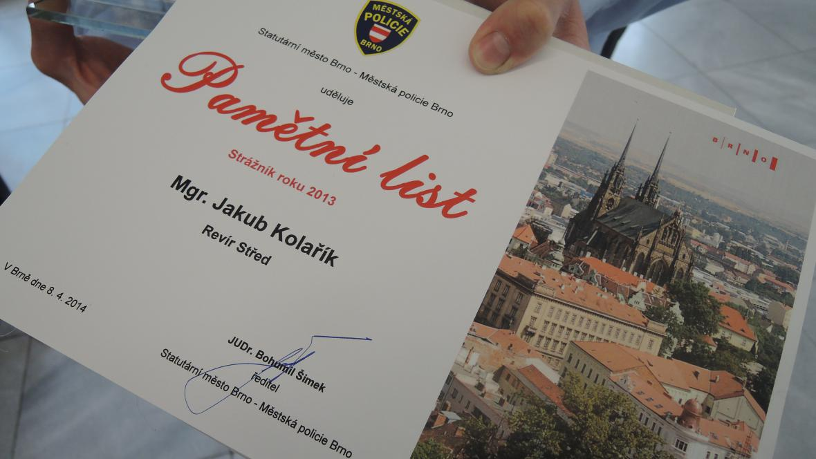 Ocenění strážníků Městské policie Brno