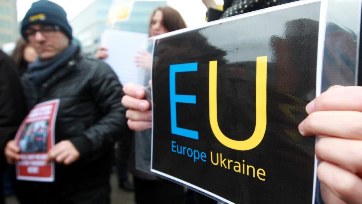 Protest Ukrajinců v Bruselu