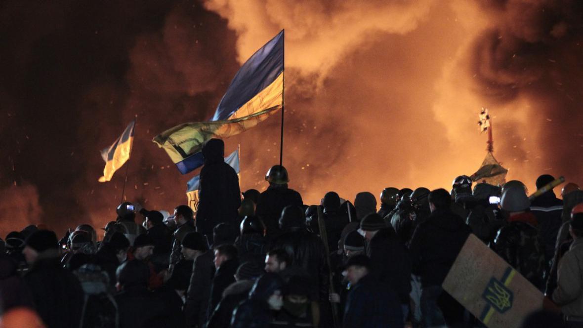 Noční nepokoje v Kyjevě
