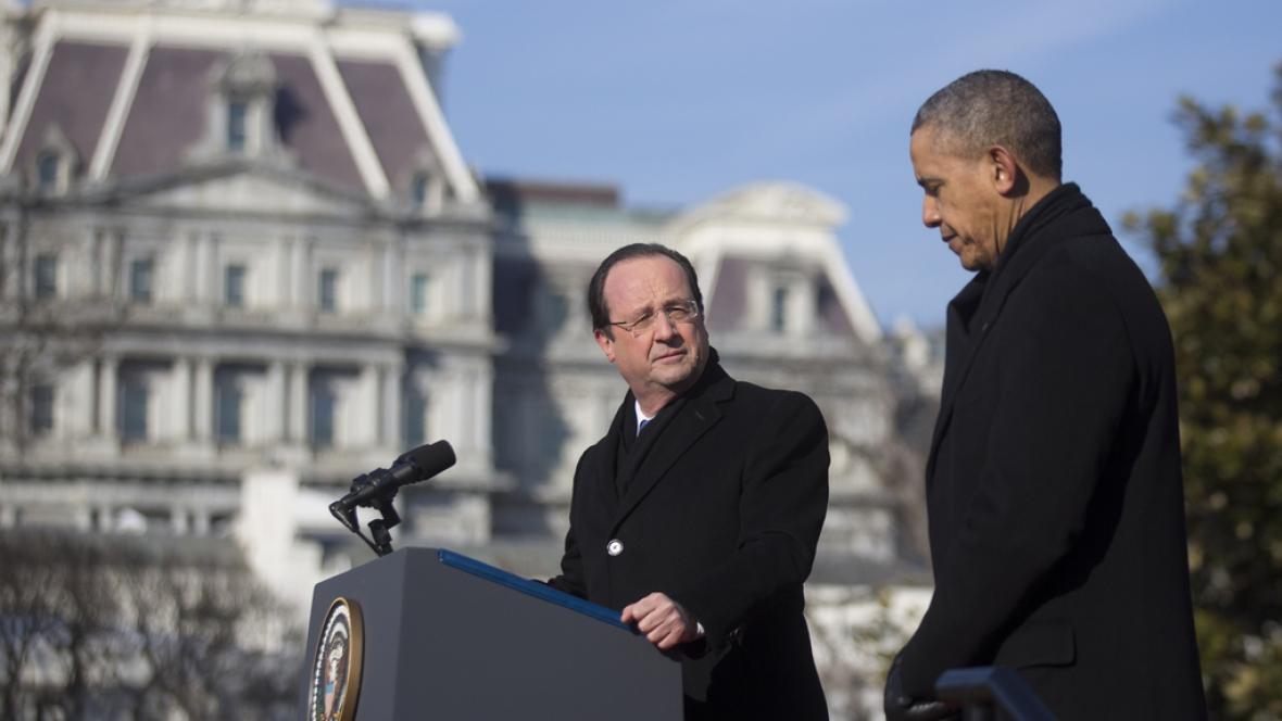 François Hollande po audienci v Bílém domě