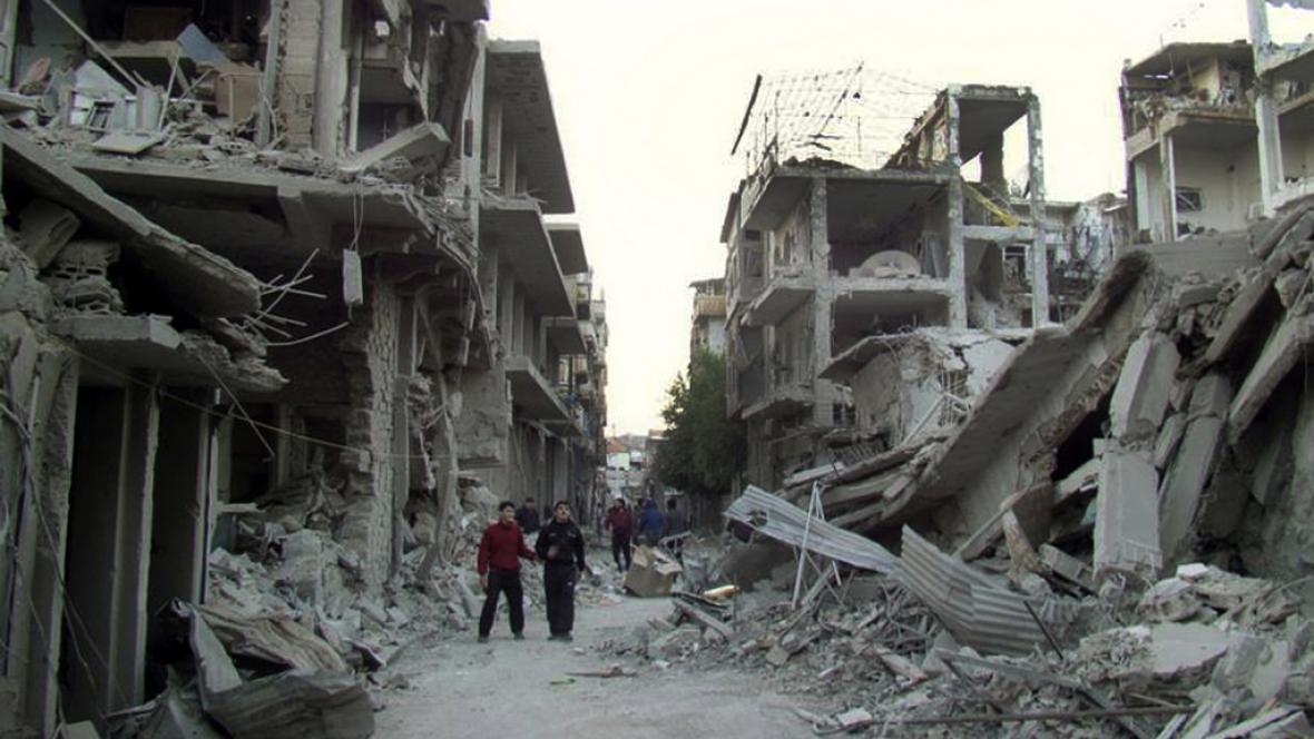 Zdevastovaná část Homsu