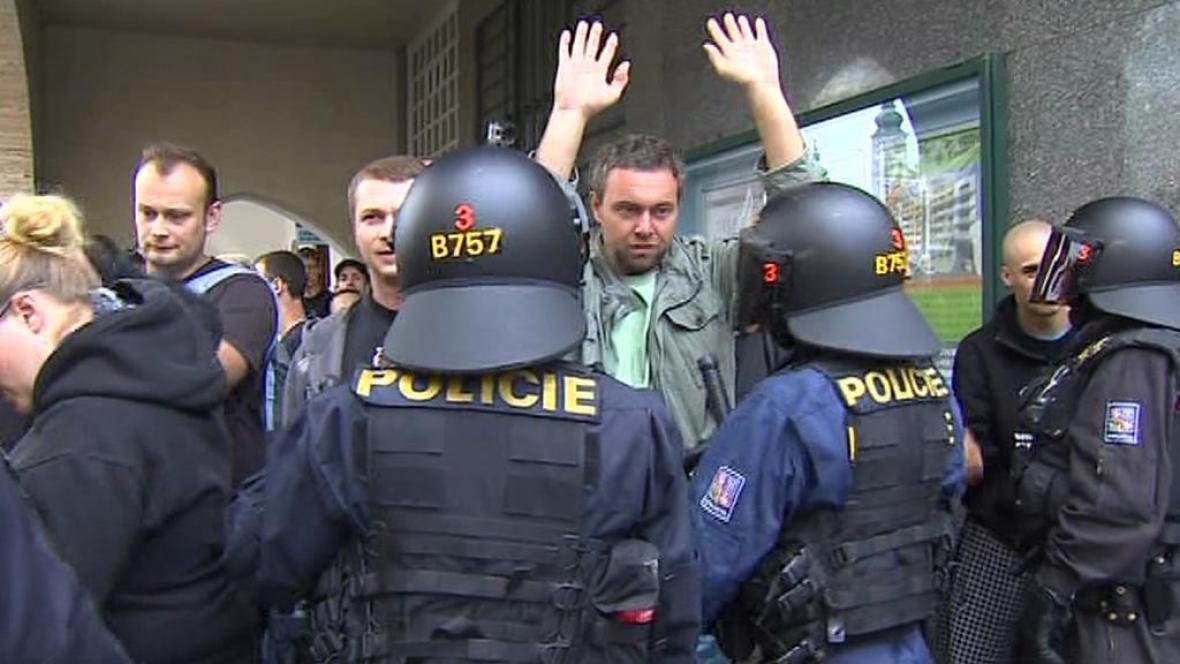 Protiromský demonstrant v Českých Budějovicích