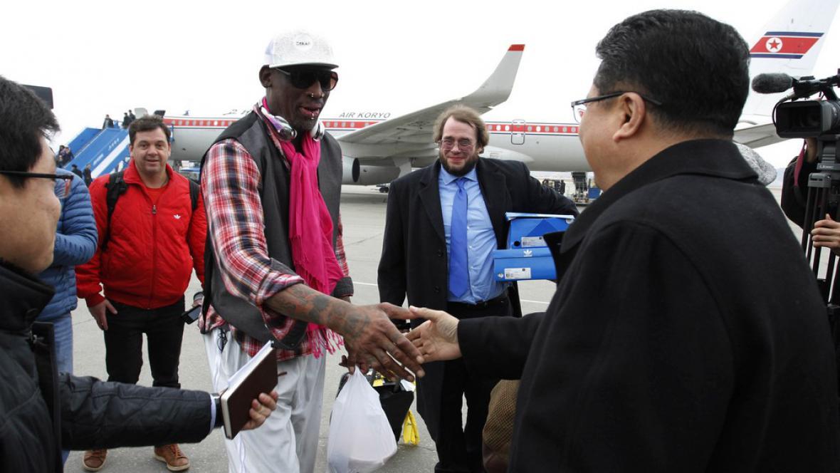 Dennis Rodman s ministrem sportu KLDR