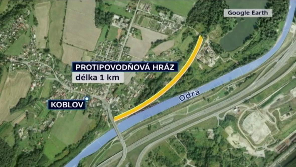 Protipovodňová hráz v Koblově