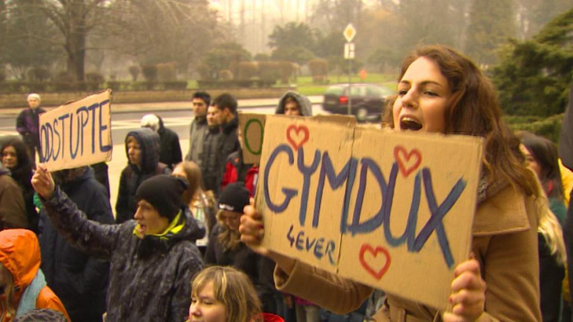Demonstrace studentů v Duchcově