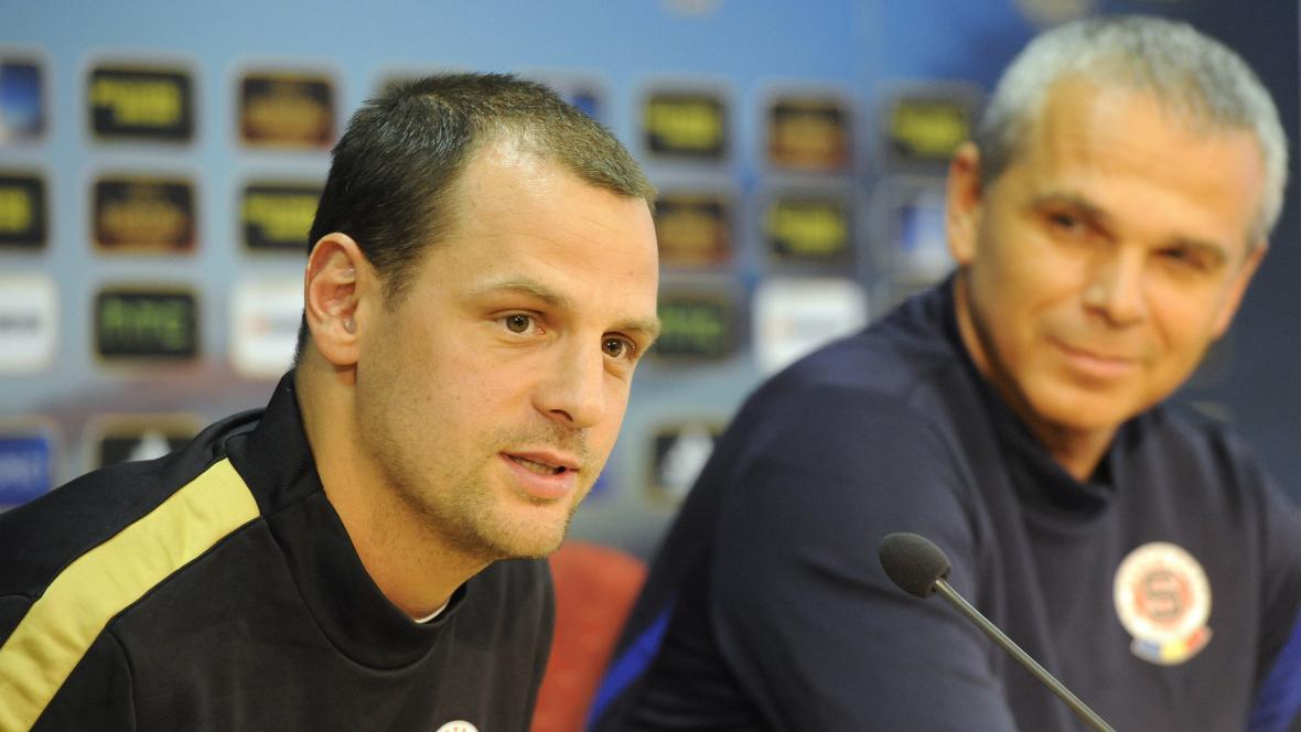 Trenér Sparty Lavička a kapitán Matějovský