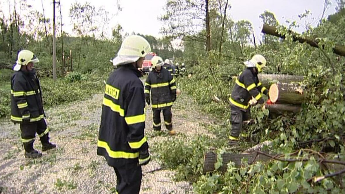 Hasiči odstraňují popadané stromy po bouřce, která se prohnala Krnovem