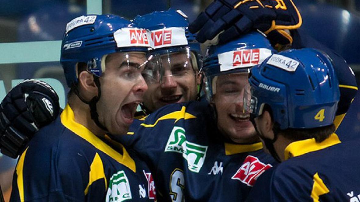 Radující se hokejisté Ústí nad Labem