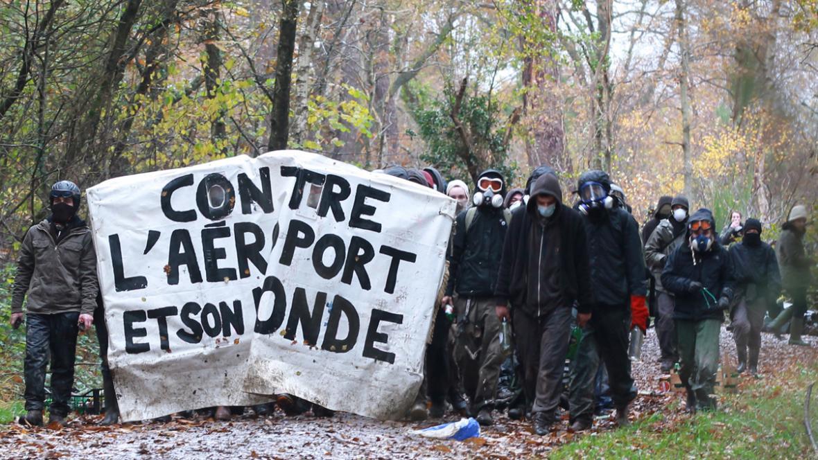 Protest proti výstavbě letiště u Nantes
