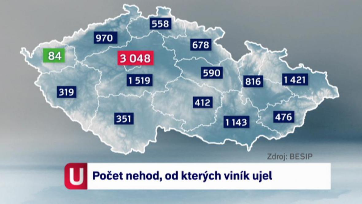 Počet nehod za rok 2012, od kterých viník ujel