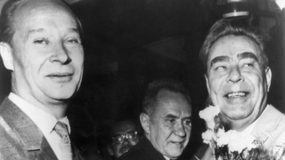 Alexandr Dubček, Alexej Kosygin a Leonid Brežněv