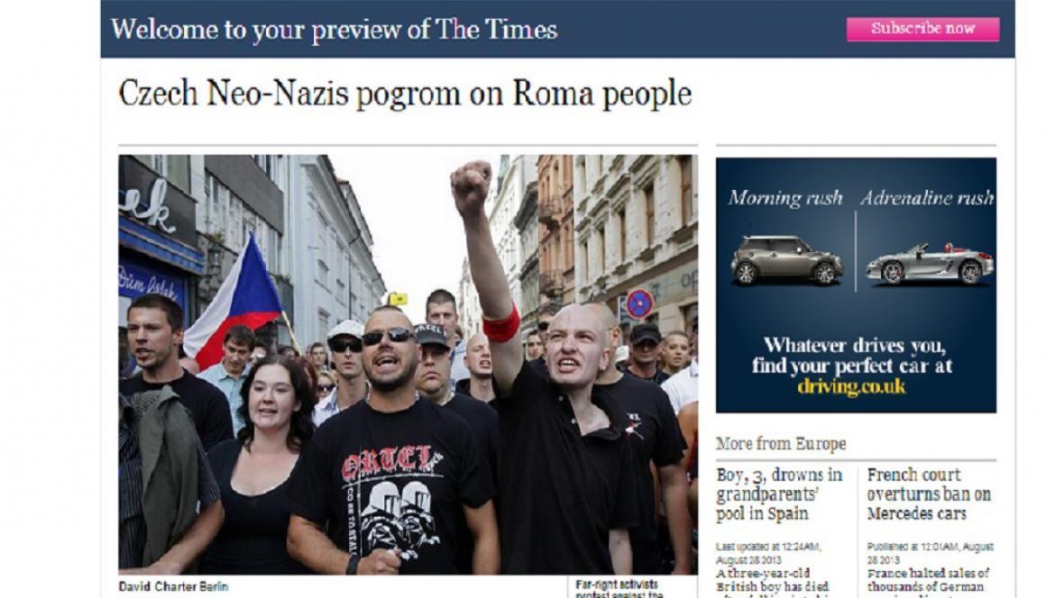 Server The Times o protiromských pochodech v ČR