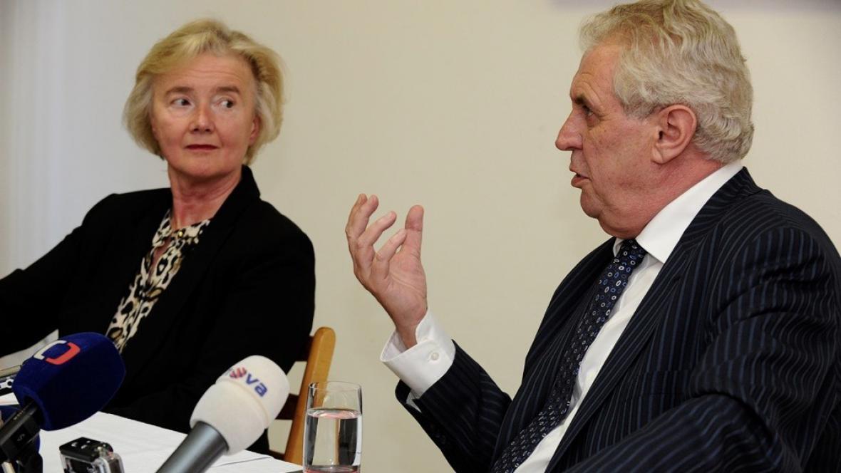 Iva Brožová a Miloš Zeman