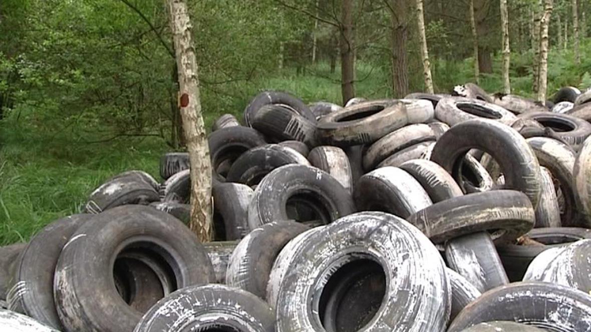 Skládka pneumatik z hradeckého lesa