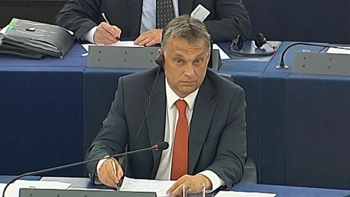 Maďarský premiér Viktor Orbán v Evropském parlamentu