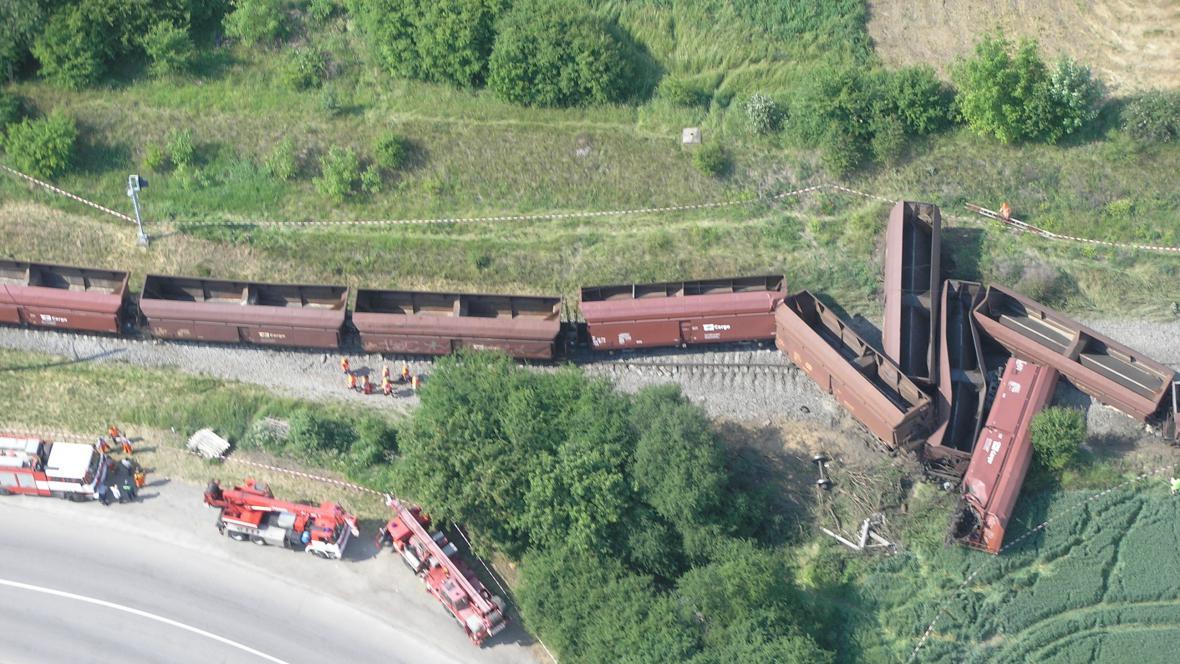 Vykolejení vlaku mezi Ivanovicemi a Vyškovem
