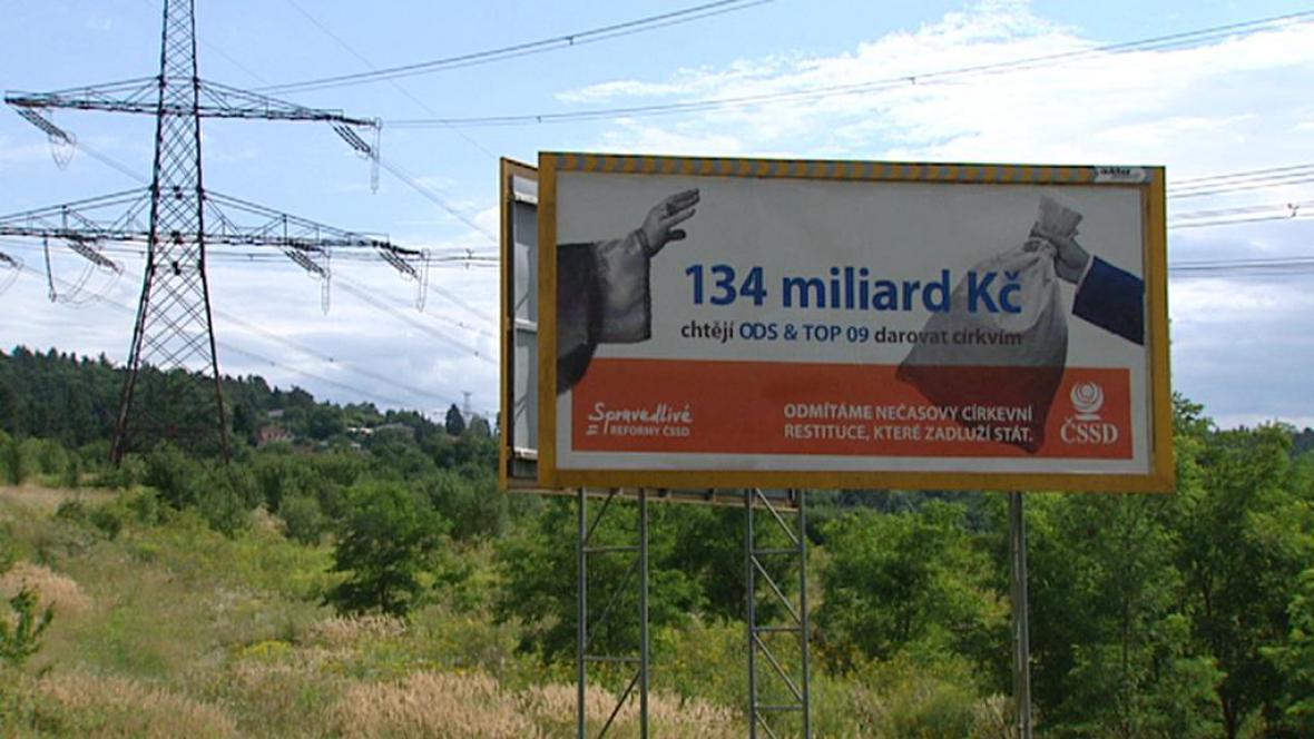 Kampaň ČSSD proti církevním restitucím