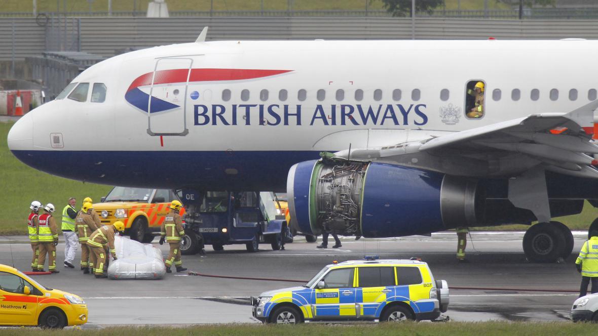Poškozené letadlo British Airways