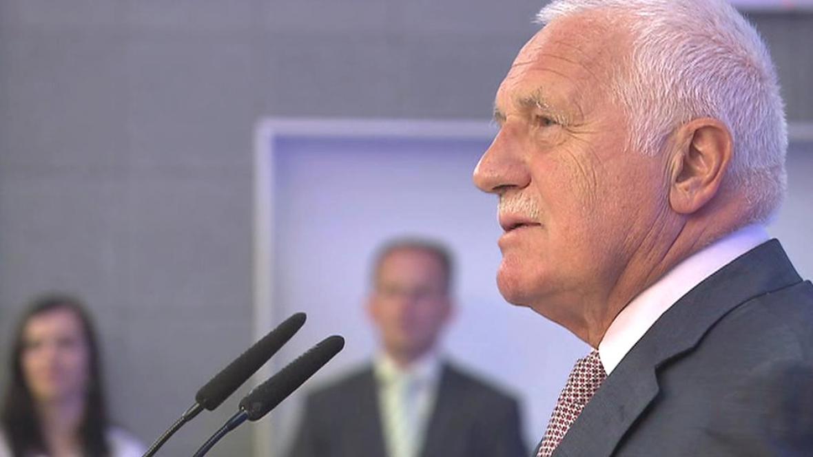 Václav Klaus během přednášky na VŠE