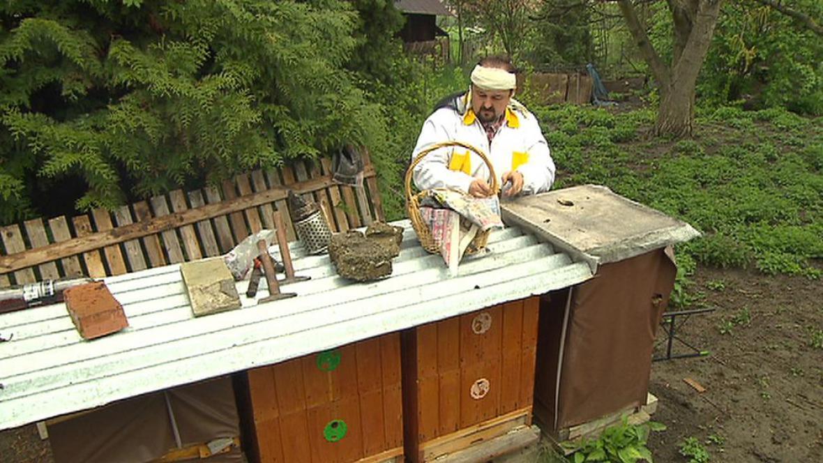Včelař kontroluje úly