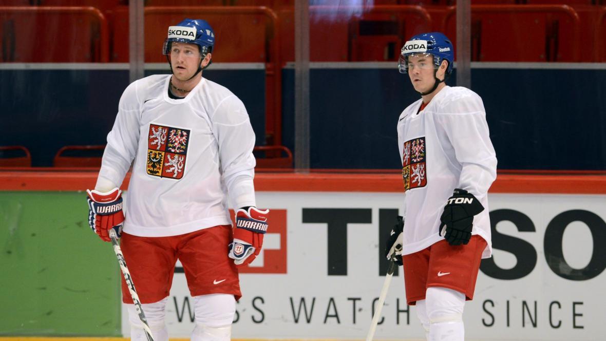Jiří Hudler (vpravo) a Jiří Tlustý na MS 2013