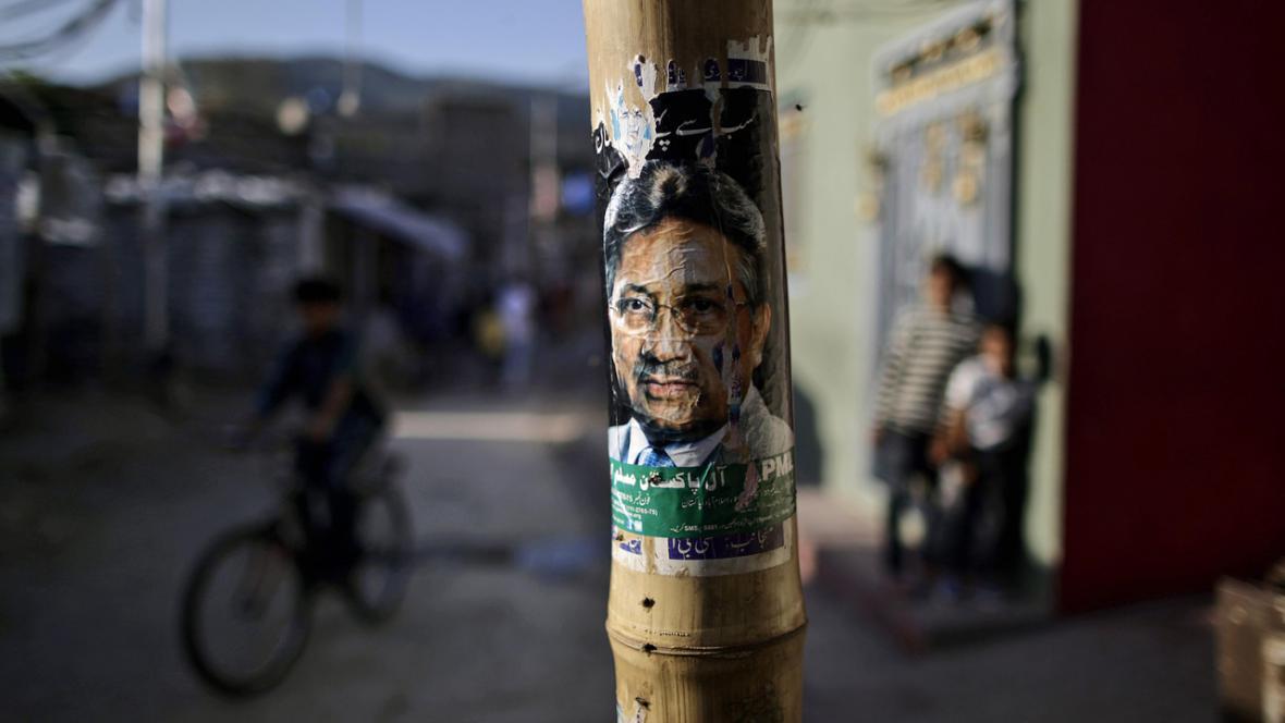 Volební plakát Parvíze Mušarafa