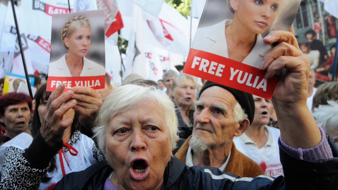 Demonstrace před kasačním soudem na podporu Julije Tymošenkové