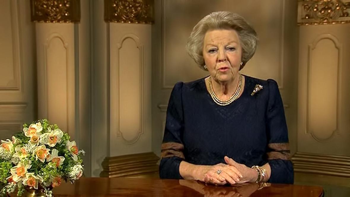 Královna Beatrix při posledním projevu k národu