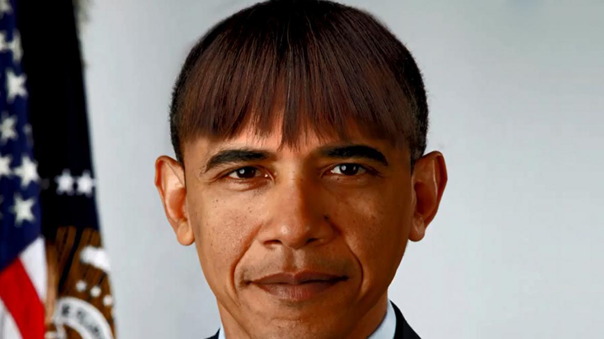Obama s žertovnou ofinou ve stylu své manželky Michelle