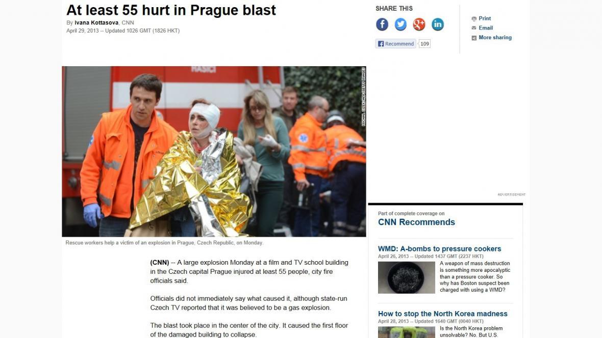 CNN o výbuchu v Praze