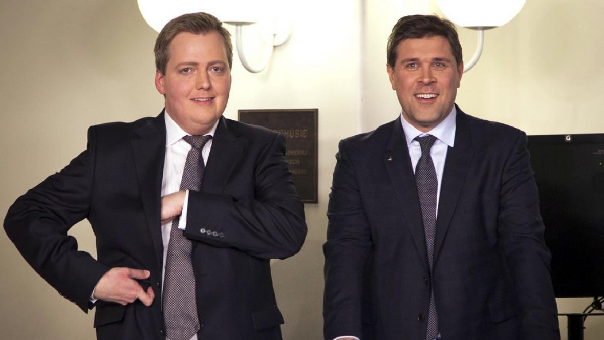Předseda Pokrokové strany Sigmundur David Gunnlaugsson a předseda Strany nezávislosti Bjarni Benediktsson