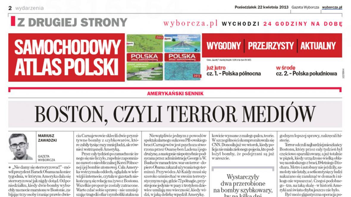 Gazeta Wyborcza k bostonskému atentátu