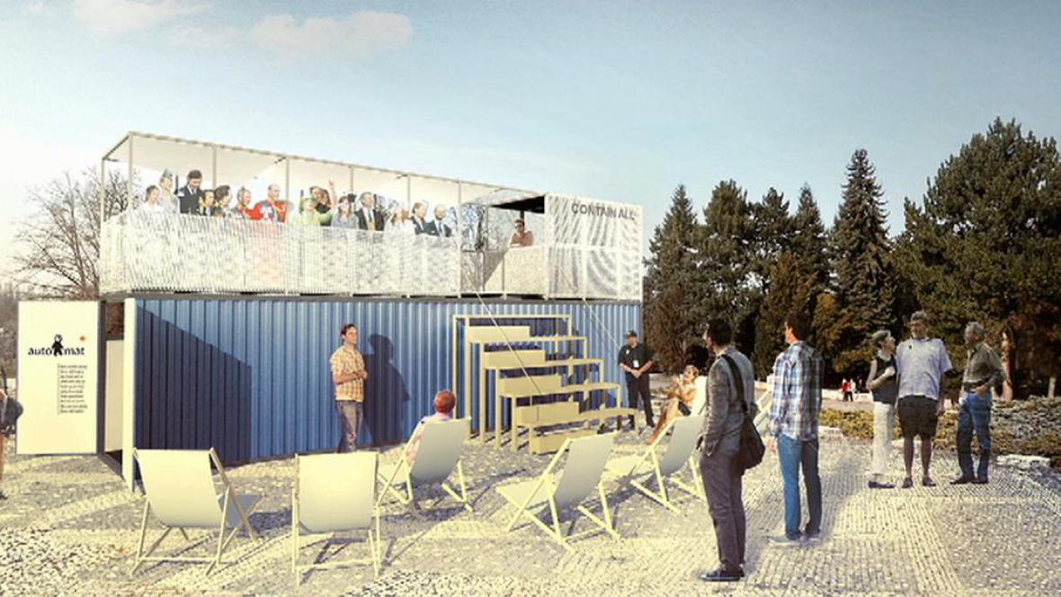 Simulace budoucí kavárny z kontejneru