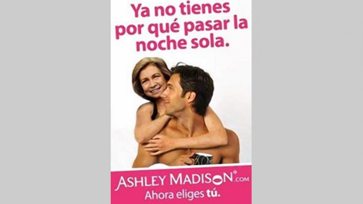 Královna Sofie v reklamě Ashley Madison