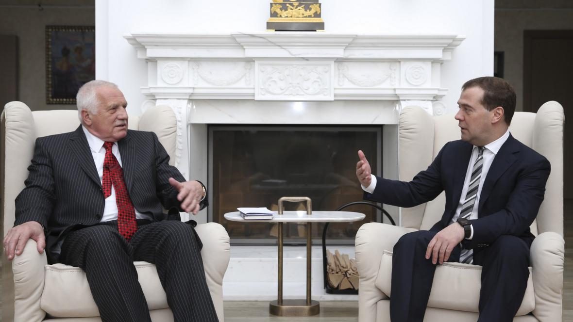 Václav Klaus a Dmitrij Medvěděv na setkání v Moskvě