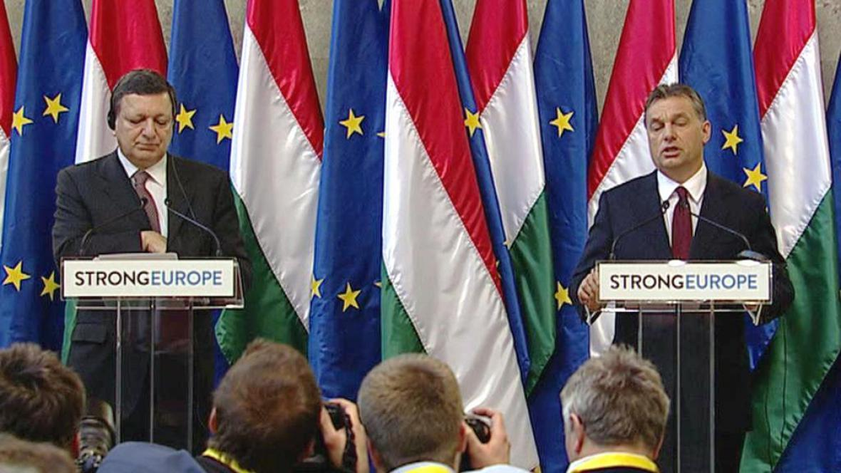 Brífink Josého Manuela Barrosa a Viktora Orbána