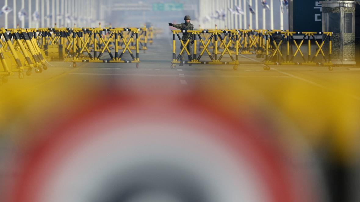 Jihokorejský voják na hranicích