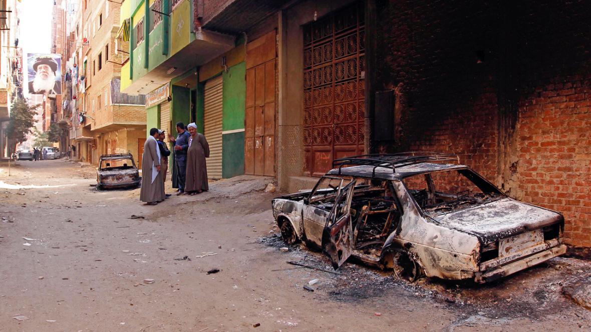Následky střetů muslimů a křesťanů v Egyptě