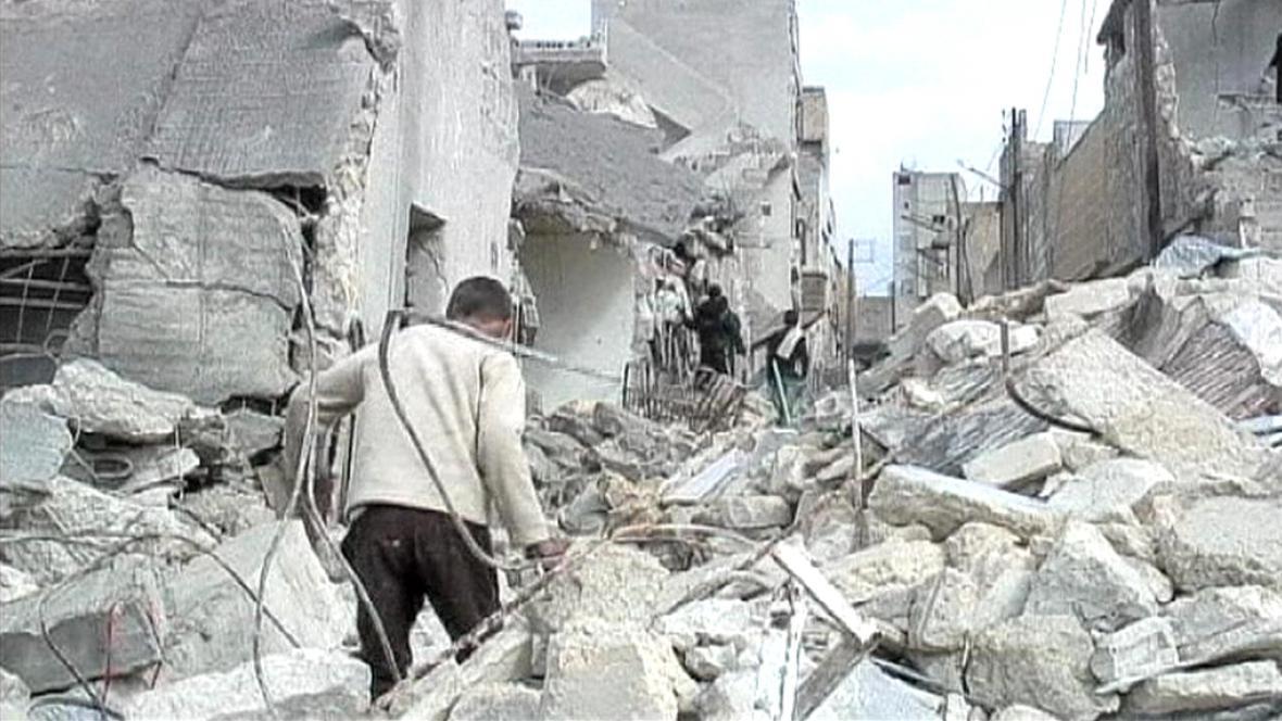 Ruiny jedné z damašských ulic