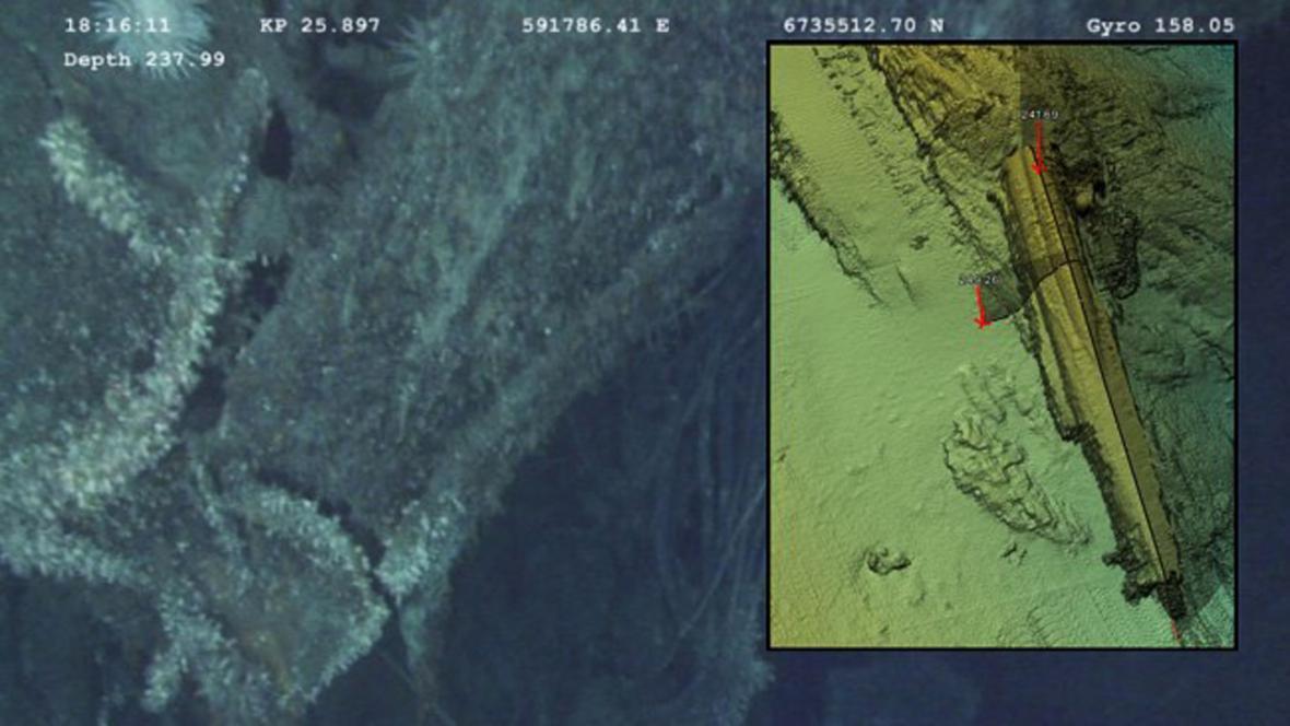 Potopená německá ponorka u norských břehů